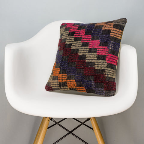 Geometric Multi Color Kilim Pillow Cover 16x16 3090 - kilimpillowstore