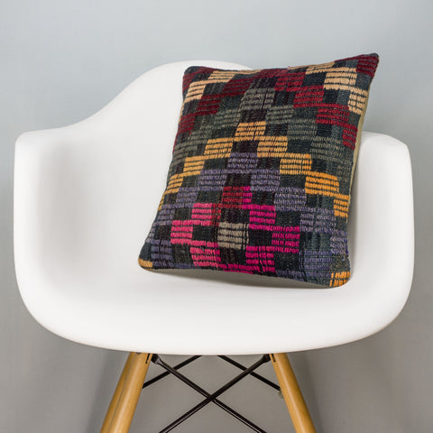Geometric Multi Color Kilim Pillow Cover 16x16 3097 - kilimpillowstore