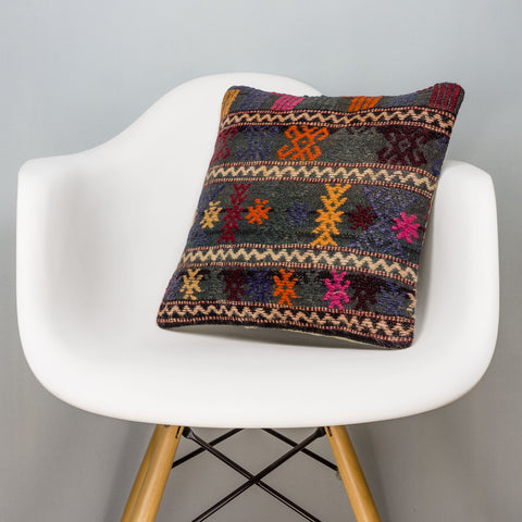 Geometric Multi Color Kilim Pillow Cover 16x16 3104 - kilimpillowstore