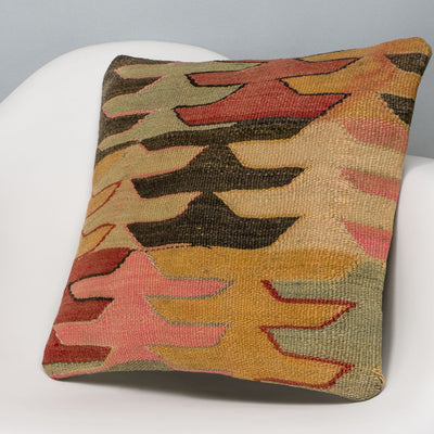 Geometric Multi Color Kilim Pillow Cover 16x16 3136 - kilimpillowstore