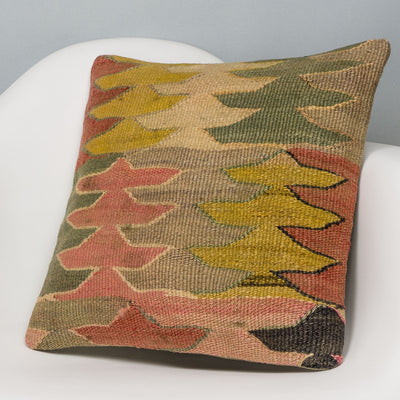 Geometric Multi Color Kilim Pillow Cover 16x16 3145 - kilimpillowstore