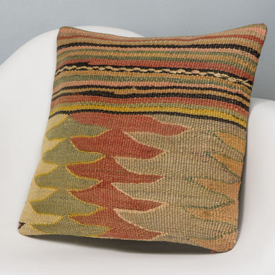 Geometric Multi Color Kilim Pillow Cover 16x16 3147 - kilimpillowstore
