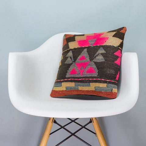 Geometric Multi Color Kilim Pillow Cover 16x16 3565 - kilimpillowstore  - 1