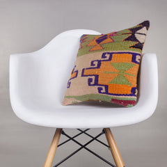 Geometric Multi Color Kilim Pillow Cover 16x16 4388 - kilimpillowstore  - 1