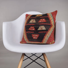 Geometric Multi Color Kilim Pillow Cover 16x16 4455 - kilimpillowstore  - 1
