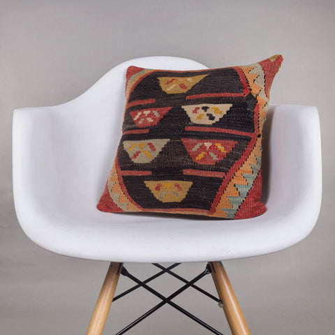 Geometric Multi Color Kilim Pillow Cover 16x16 4462 - kilimpillowstore  - 1