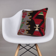 Geometric Multi Color Kilim Pillow Cover 16x16 4463 - kilimpillowstore  - 1