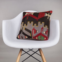 Geometric Multi Color Kilim Pillow Cover 16x16 4466 - kilimpillowstore  - 1