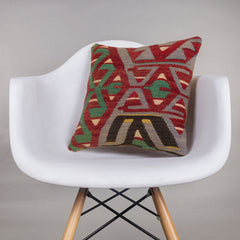 Geometric Multi Color Kilim Pillow Cover 16x16 4480 - kilimpillowstore  - 1