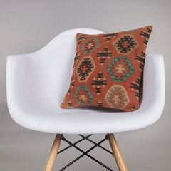 Geometric Multi Color Kilim Pillow Cover 16x16 4542 - kilimpillowstore  - 1