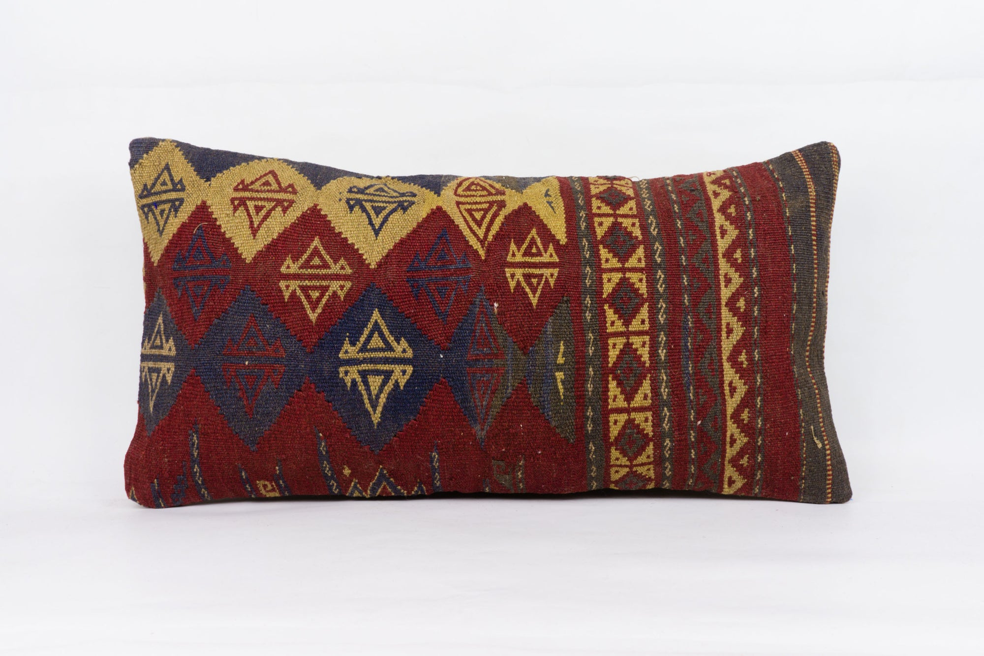 Geometric Red Kilim Pillow Cover 12x24 4243