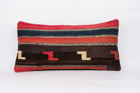 Geometric Red Kilim Pillow Cover 12x24 4286 - kilimpillowstore  - 1