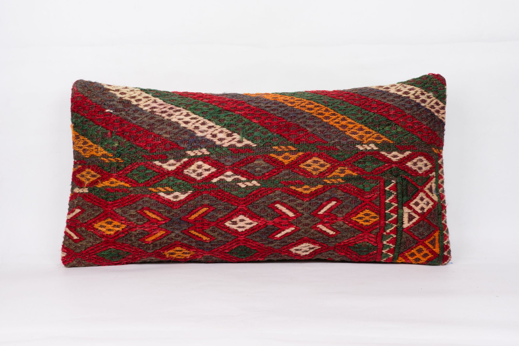 Geometric Red Kilim Pillow Cover 12x24 4327