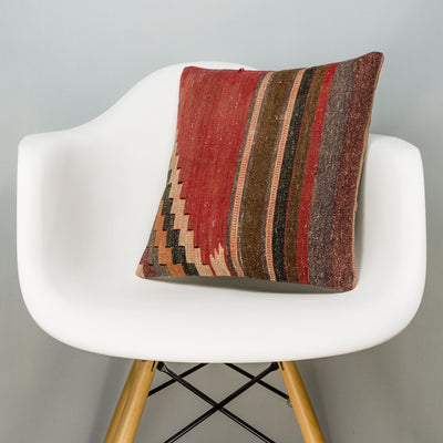 Geometric Red Kilim Pillow Cover 16x16 2813 - kilimpillowstore