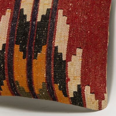 Geometric Red Kilim Pillow Cover 16x16 2824 - kilimpillowstore