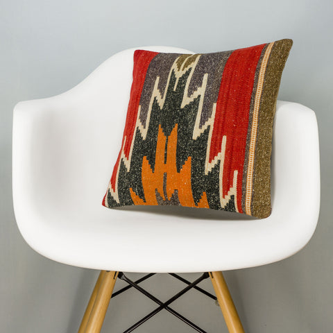 Geometric Red Kilim Pillow Cover 16x16 2836 - kilimpillowstore