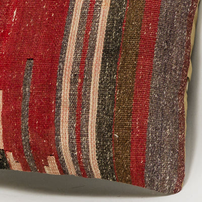 Geometric Red Kilim Pillow Cover 16x16 2840 - kilimpillowstore