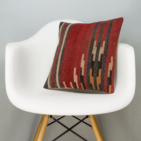 Geometric Red Kilim Pillow Cover 16x16 2841 - kilimpillowstore