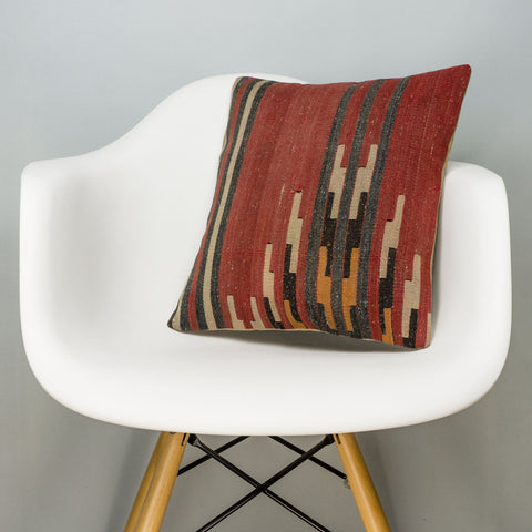 Geometric Red Kilim Pillow Cover 16x16 2853 - kilimpillowstore