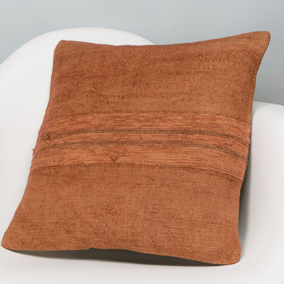 Plain Brown Kilim Pillow Cover 16x16 2906 - kilimpillowstore