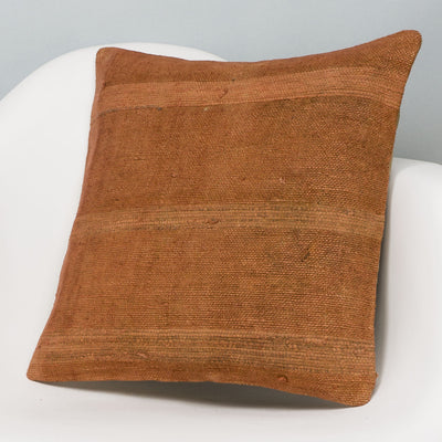 Plain Brown Kilim Pillow Cover 16x16 2909 - kilimpillowstore