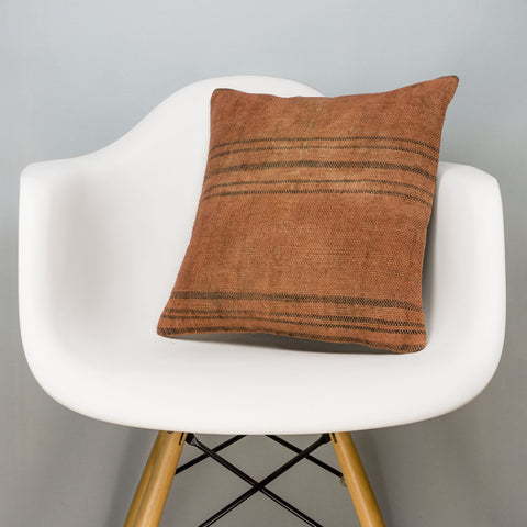 Plain Brown Kilim Pillow Cover 16x16 2915 - kilimpillowstore