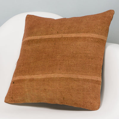 Plain Brown Kilim Pillow Cover 16x16 2929 - kilimpillowstore