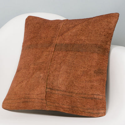 Plain Brown Kilim Pillow Cover 16x16 2946 - kilimpillowstore