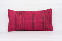 Plain Pink Kilim Pillow Cover 12x24 4145 - kilimpillowstore  - 1