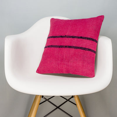 Plain Pink Kilim Pillow Cover 16x16 3002 - kilimpillowstore