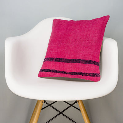 Plain Pink Kilim Pillow Cover 16x16 3004 - kilimpillowstore