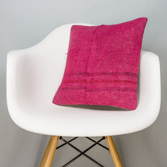 Plain Pink Kilim Pillow Cover 16x16 3007 - kilimpillowstore