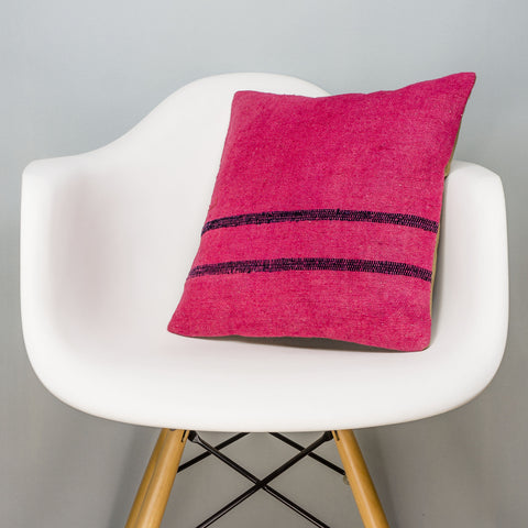 Plain Pink Kilim Pillow Cover 16x16 3017 - kilimpillowstore