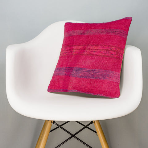Plain Pink Kilim Pillow Cover 16x16 3020 - kilimpillowstore