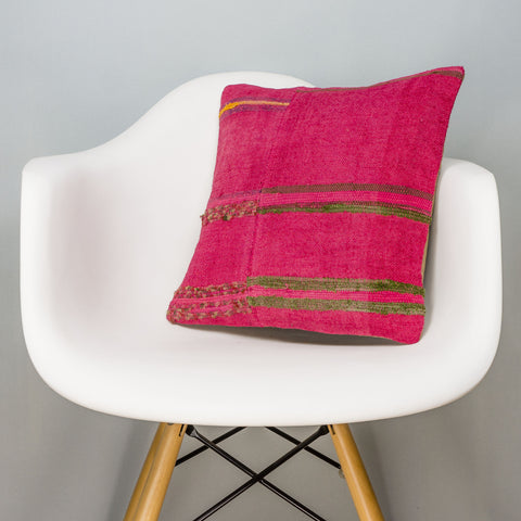 Plain Pink Kilim Pillow Cover 16x16 3028 - kilimpillowstore