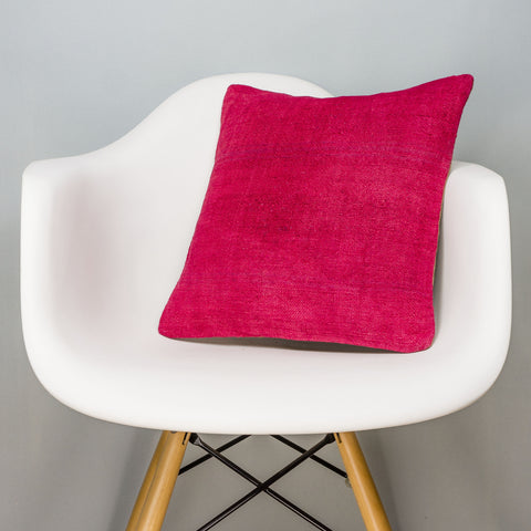 Plain Pink Kilim Pillow Cover 16x16 3032 - kilimpillowstore