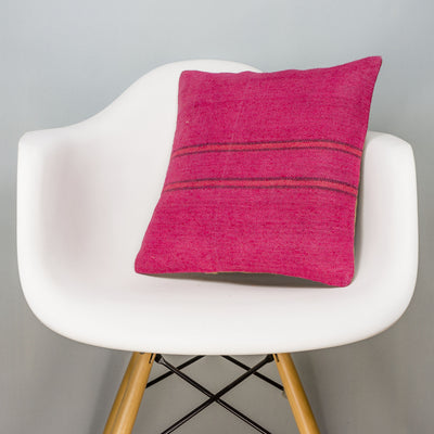 Plain Pink Kilim Pillow Cover 16x16 3035 - kilimpillowstore
