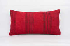 Plain Red Kilim Pillow Cover 12x24 4102 - kilimpillowstore  - 1