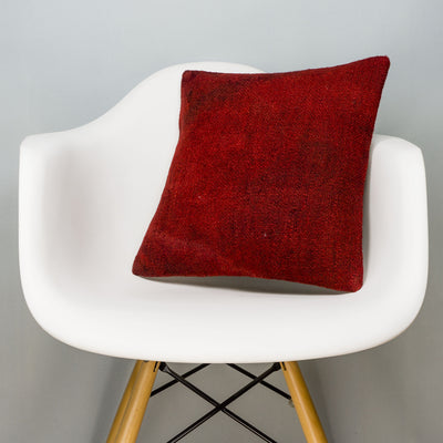 Plain Red Kilim Pillow Cover 16x16 2862 - kilimpillowstore
