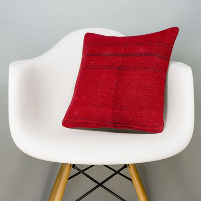 Plain Red Kilim Pillow Cover 16x16 2877 - kilimpillowstore