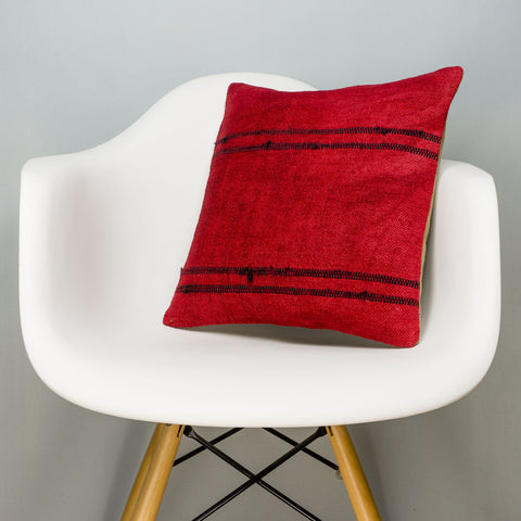 Plain Red Kilim Pillow Cover 16x16 2881 - kilimpillowstore