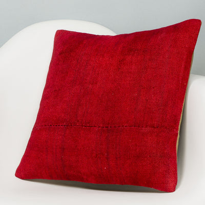 Plain Red Kilim Pillow Cover 16x16 2885 - kilimpillowstore