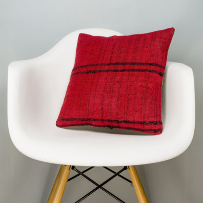 Plain Red Kilim Pillow Cover 16x16 2891 - kilimpillowstore