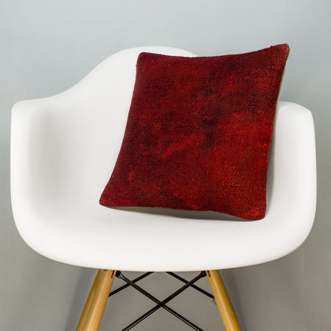 Plain Red Kilim Pillow Cover 16x16 2897 - kilimpillowstore