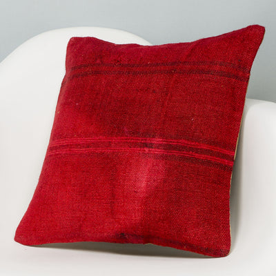 Plain Red Kilim Pillow Cover 16x16 2901 - kilimpillowstore