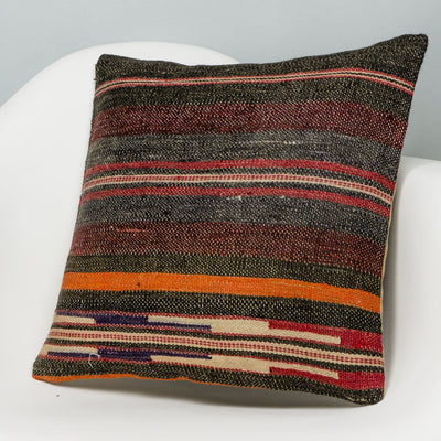 Striped Brown Kilim Pillow Cover 16x16 2796 - kilimpillowstore