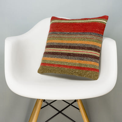 Striped Brown Kilim Pillow Cover 16x16 2797 - kilimpillowstore