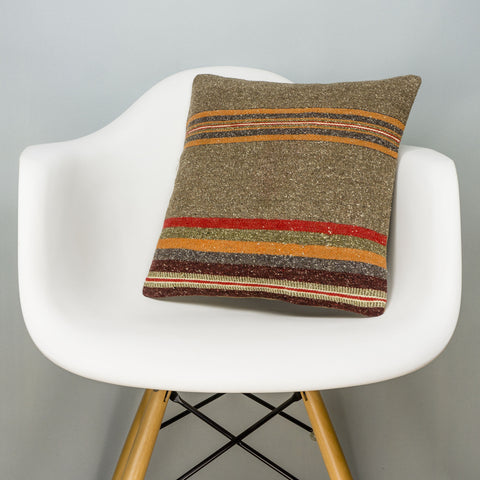 Striped Brown Kilim Pillow Cover 16x16 2798 - kilimpillowstore