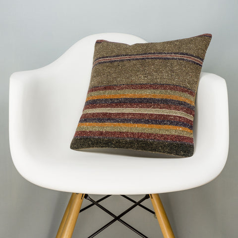 Striped Brown Kilim Pillow Cover 16x16 2807 - kilimpillowstore