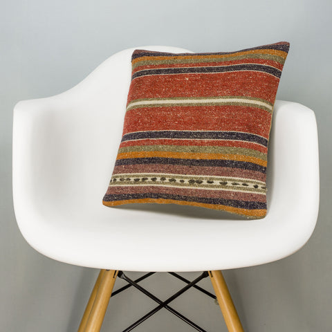 Striped Brown Kilim Pillow Cover 16x16 2810 - kilimpillowstore
